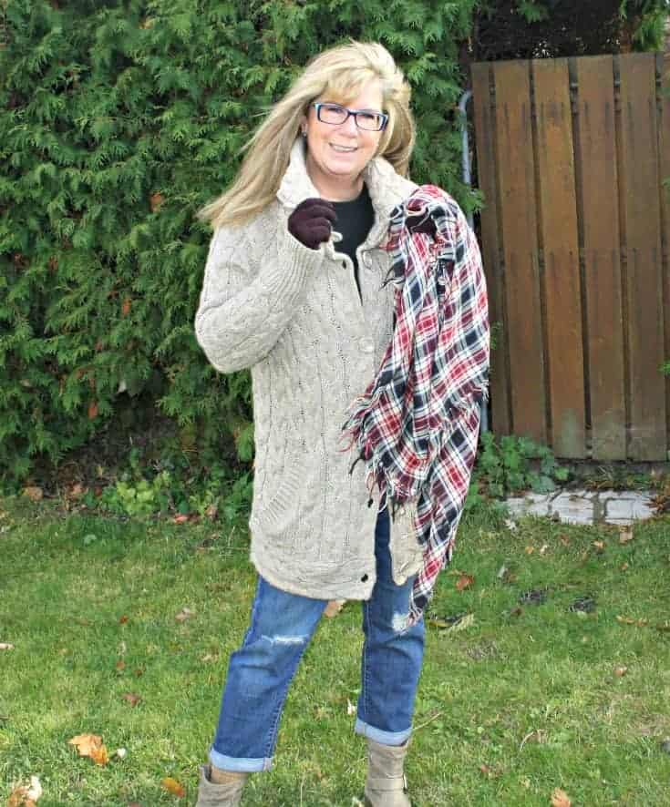 Hudson Bay Company sweater with Old Navy Boyfriend jeans and short boots