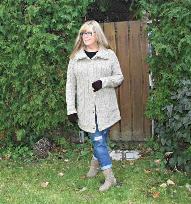 Hudson Bay Company sweater and  Old Navy Boyfriend jeans