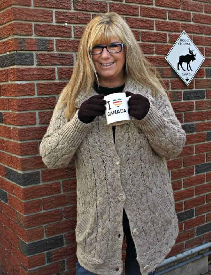 Hudson Bay Company sweater and plaid scarf with my HBC new fav mug