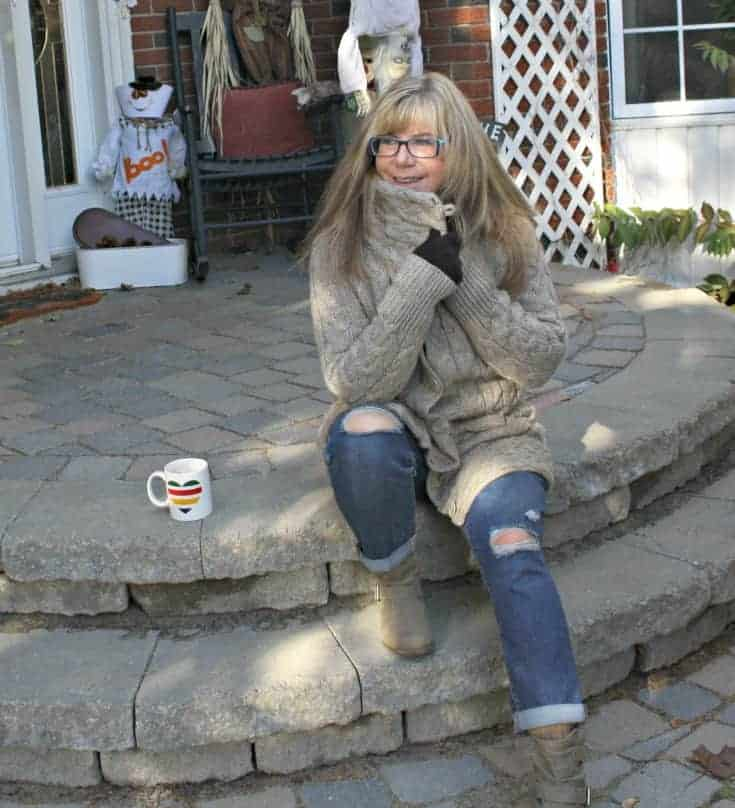 Hudson Bay Company sweater with Old Navy Boyfriend jeans and george boots