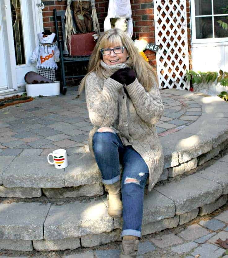 Hudson Bay Company sweater and george boots with Old Navy Boyfriend jeans