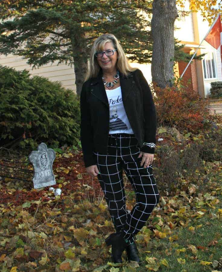 Banana Republic moto jacket and Target windowpane pants with J'adore tee and forever 21 boots
