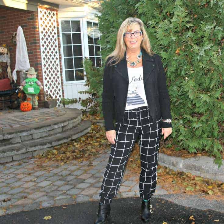 Moto Jacket and windowpane pants with J'adore tee and H&M necklace