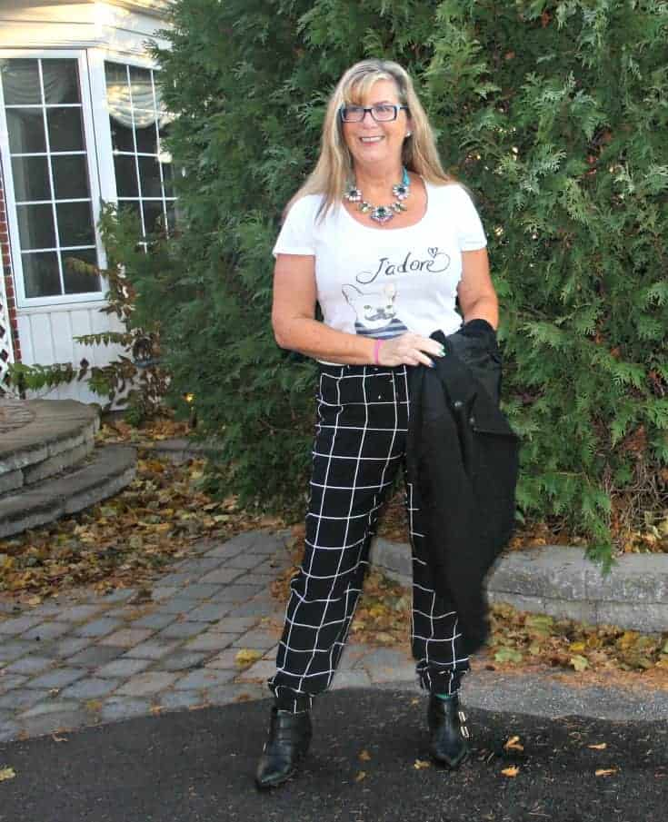 windowpane pants with J'adore tee and forever 21 boots