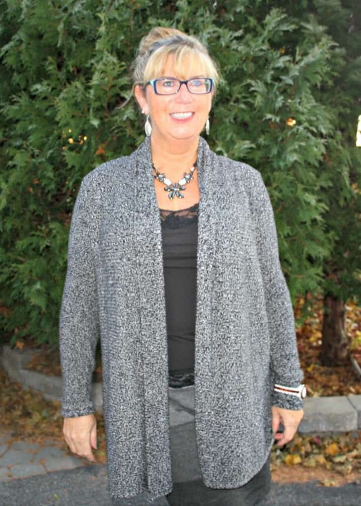 VanHeusen Tweed sweater, Tri coloured grey skirt and Forever 21 Boots