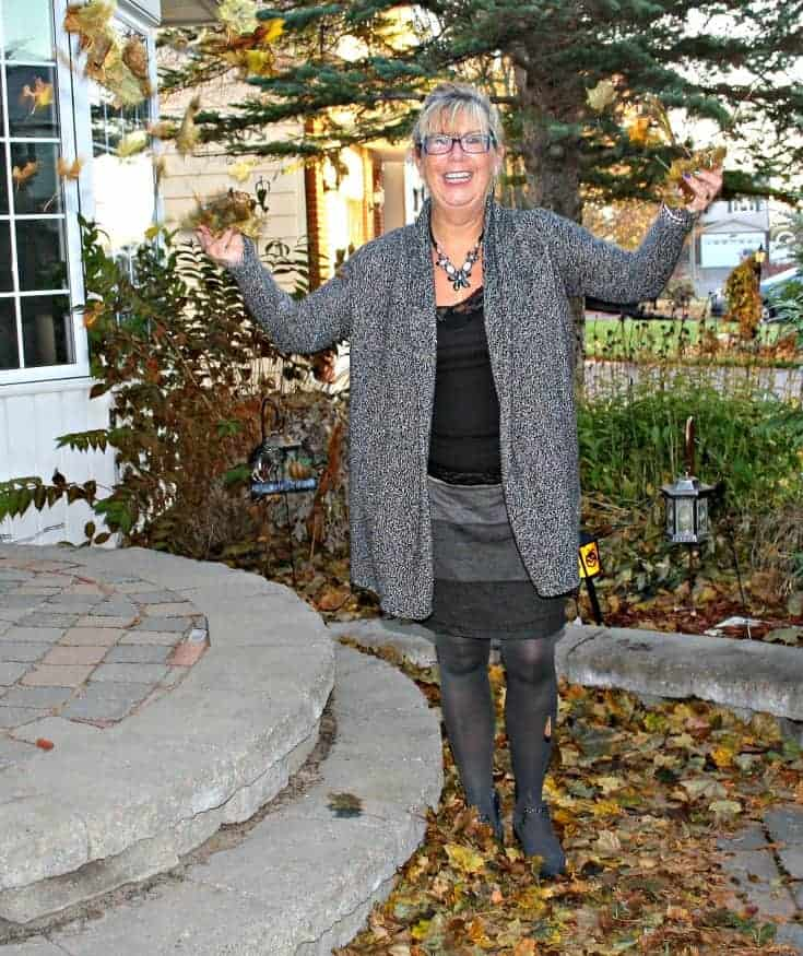 tossing leaves in a VanHeusen Tweed sweater, Tri coloured grey skirt and Forever 21 Boots