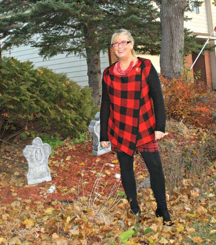 Fall means plaids and great colours, wearing a fun plaid hooded sweater from Hudsons Bay Company