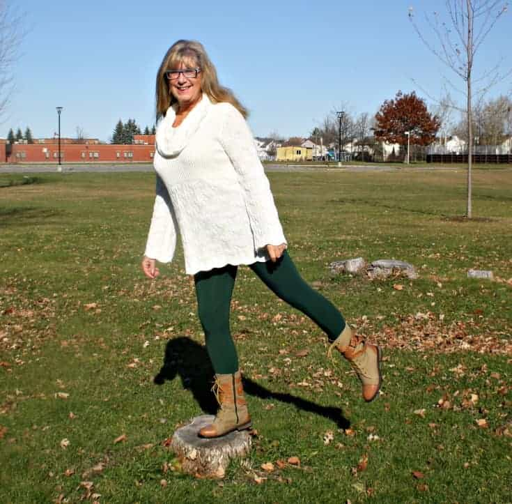 Playing in my LNBF Suri Forest Green Leggings, Hudsons Bay Company Tunic and Giant Tiger Boots