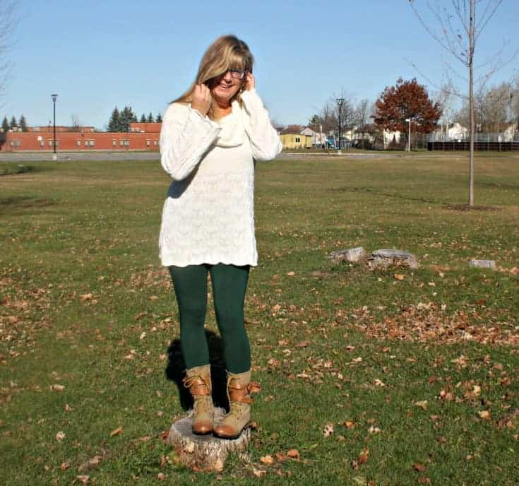 Modeling in the park in Green Leggings, Hudsons Bay Company Tunic and Giant Tiger Boots
