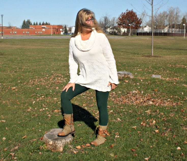 Suri Forest Green Leggings, Hudsons Bay Company Tunic and Giant Tiger Boots in the Park