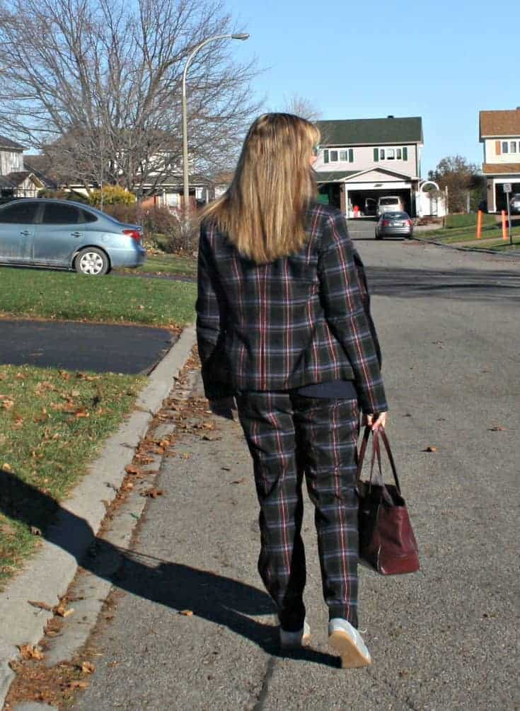 Target Plaid suit,and coach bag with Gap silver oxfords