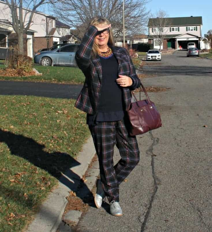 Target Plaid suit, jones cashmere sweater with Old Navy Cami, Gap silver oxfords and coach bag