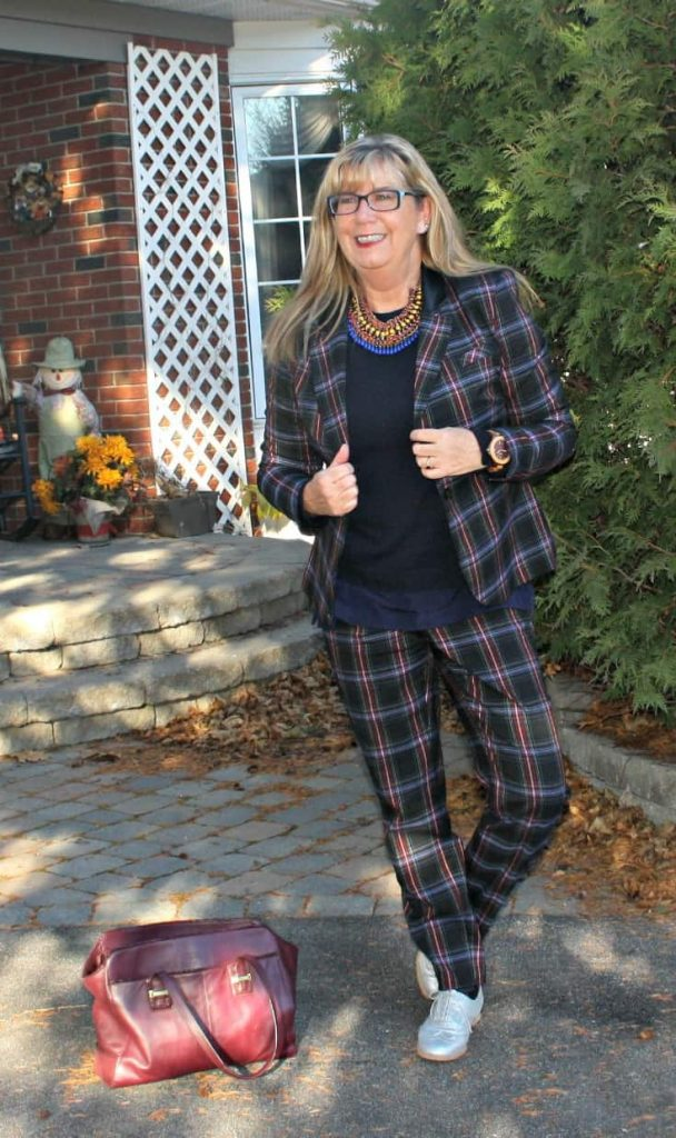 Target Plaid suit, jones cashmere sweater and lookbook necklace.with jord watch
