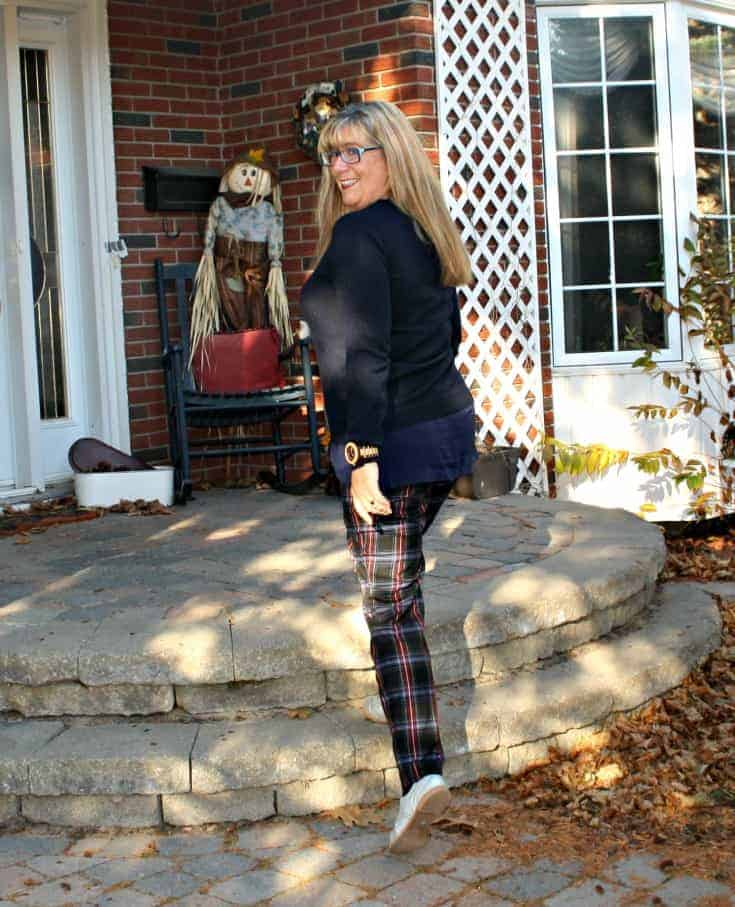 plaid pants and cashmere sweater with jord watch