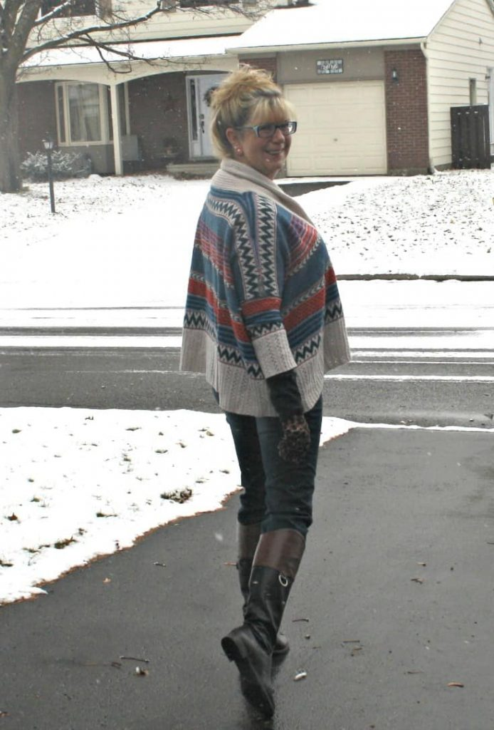 aztec print sweater with Haggar dream jeans and my jord watch
