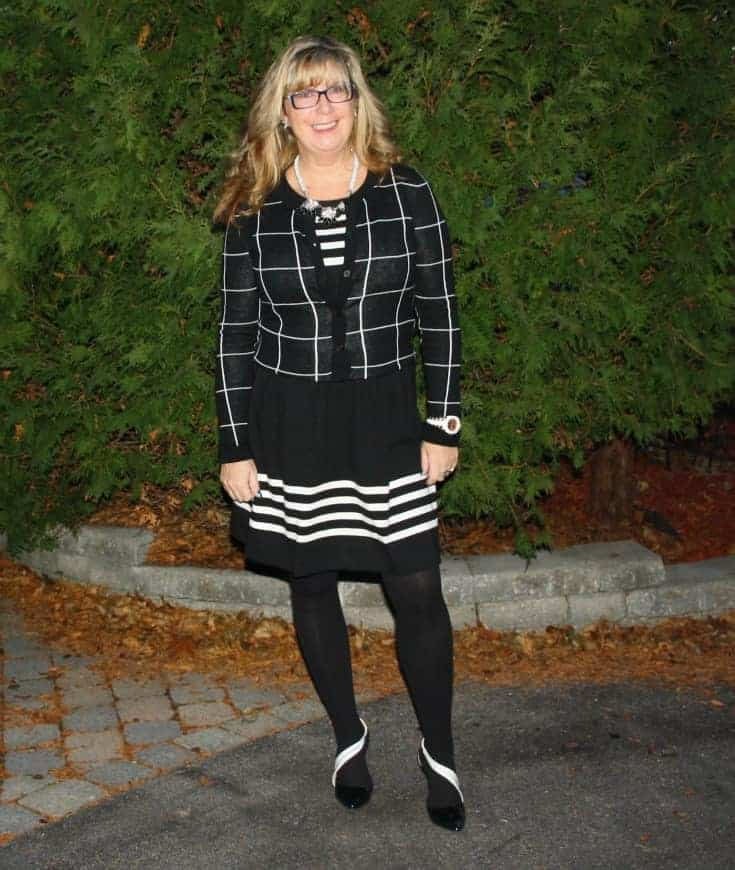 J Crew Black and white dress with windowpane sweater from Target