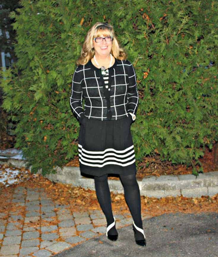 Black and white dress with windowpane sweater from Target and black&white shoes