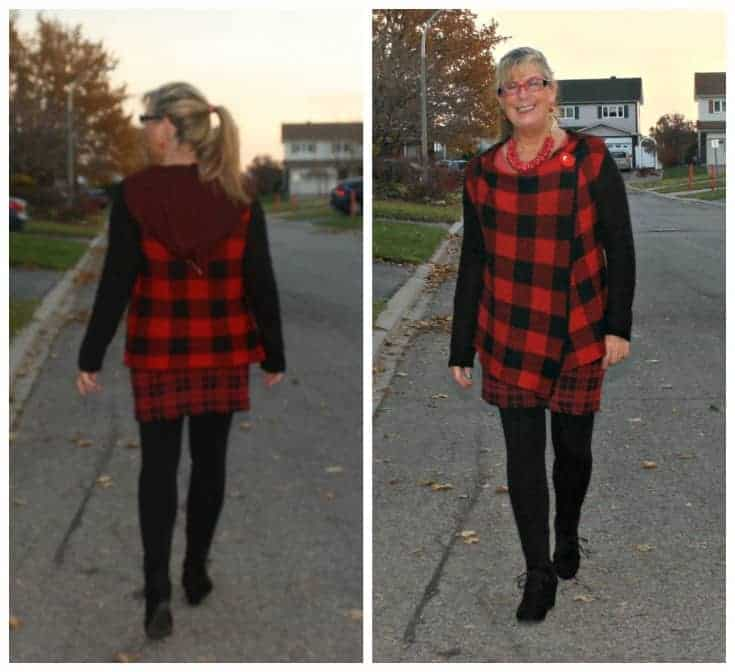 HBC Red plaid sweater with Wedge boots