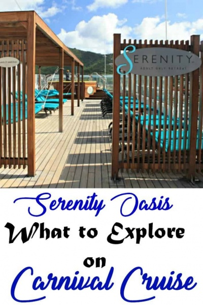 Serenity Oasis, The Adult Area on Carnival Ships