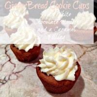 gingerbread cookie cups topped with white chocolate mousse