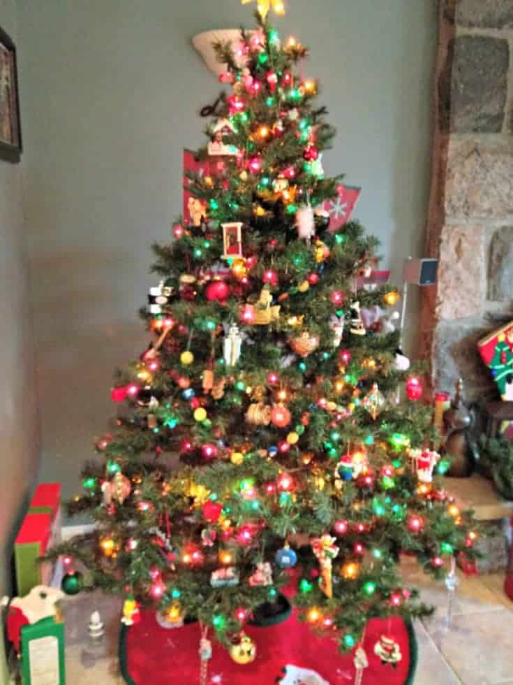 a fun family tree with hallmark ornaments and M&m's