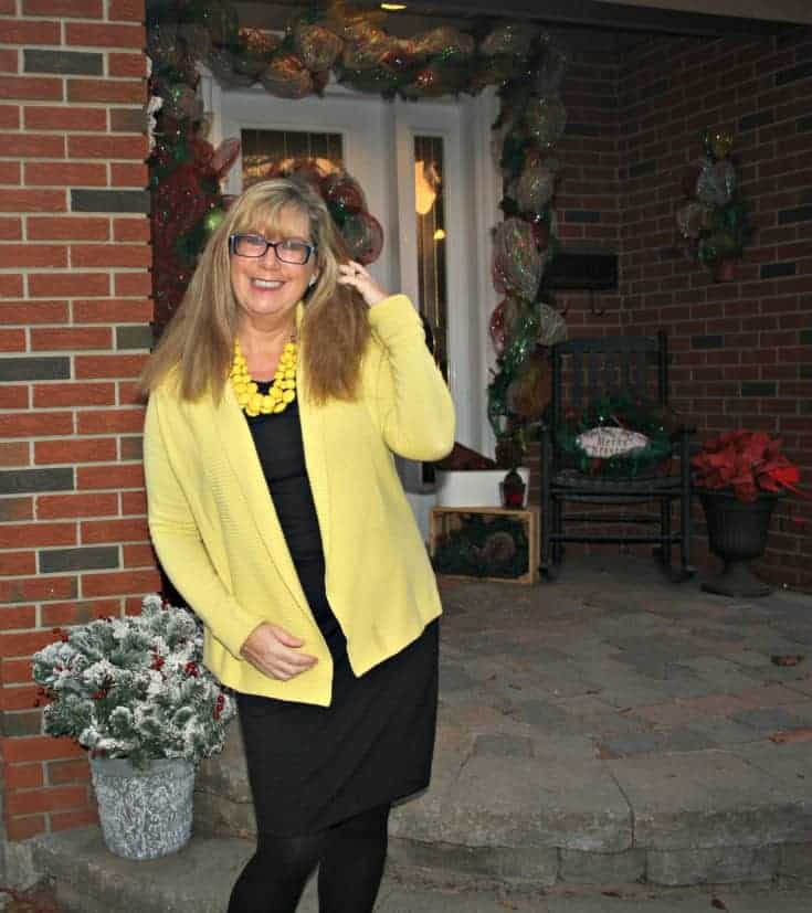 Smiles when I wear Vanheusen Yellow Cardigan with a LBD and matching Signature pumps from Shoe Dazzle