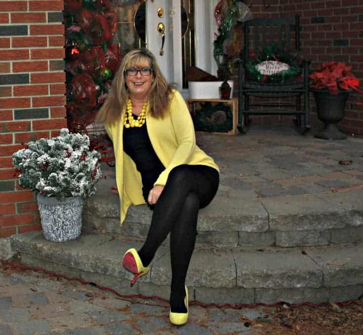 Relaxing in my Vanheusen Yellow Cardigan with a LBD and matching Signature pumps from Shoe Dazzle
