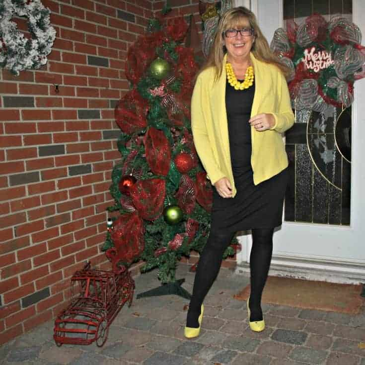 Christmas spirit with my Vanheusen Yellow Cardigan with a LBD and matching Signature pumps from Shoe Dazzle