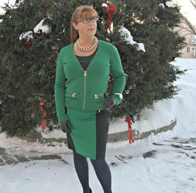 Michael Kors green skirt and cardigan with navy accents in the snow
