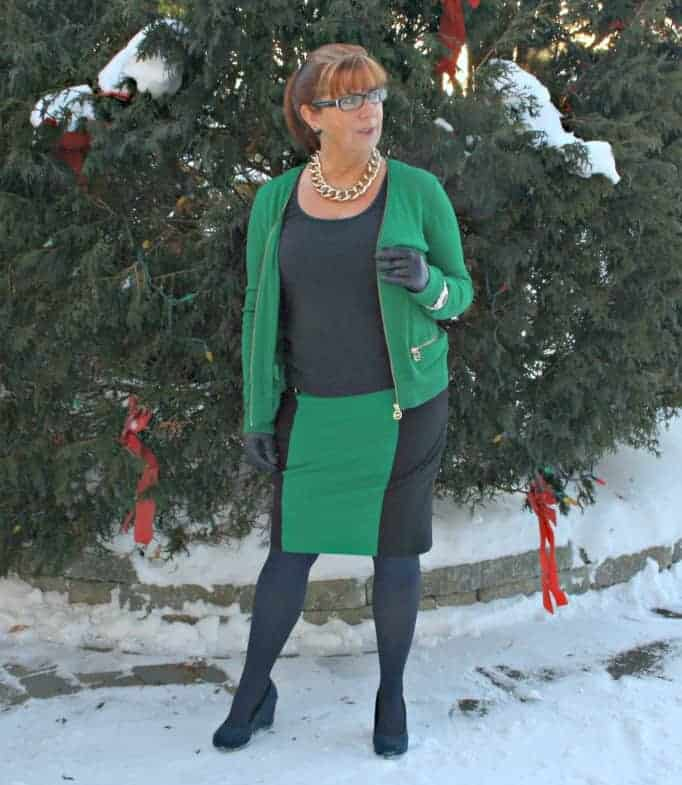 Michael Kors green skirt and cardigan with navy accents