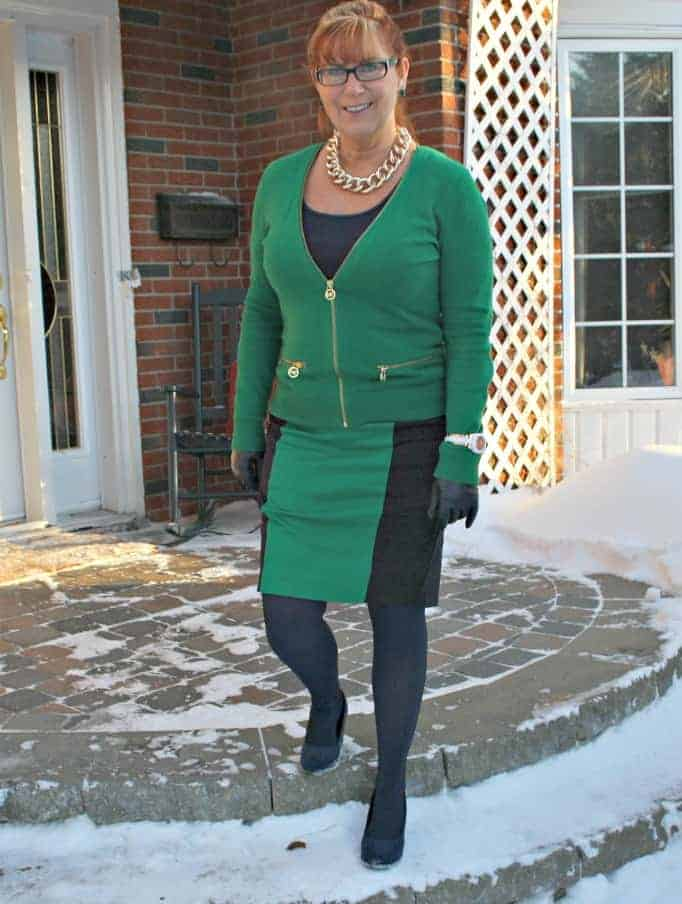 Michael Kors green skirt and cardigan with navy accents with my Kate Spade Watch
