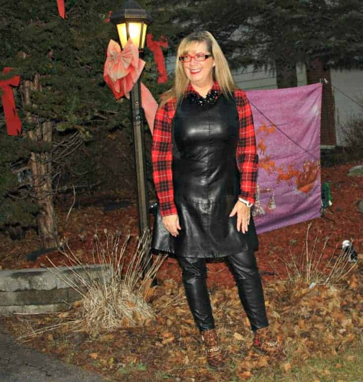 F 21 Leather Dress with Buffalo plaid shirt and some leopard boots