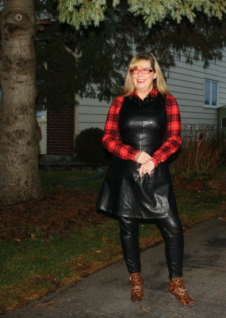 F 21 Leather Dress with Buffalo plaid shirt and some leopard boots 2