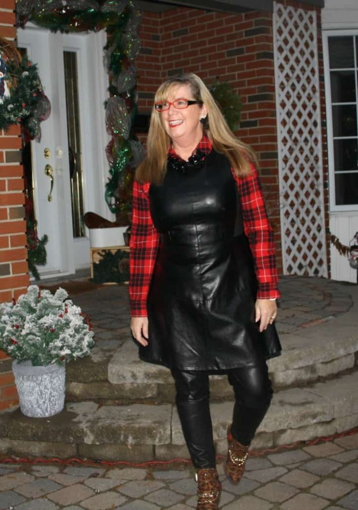 F 21 Leather Dress with Buffalo plaid shirt and some leopard boots 5