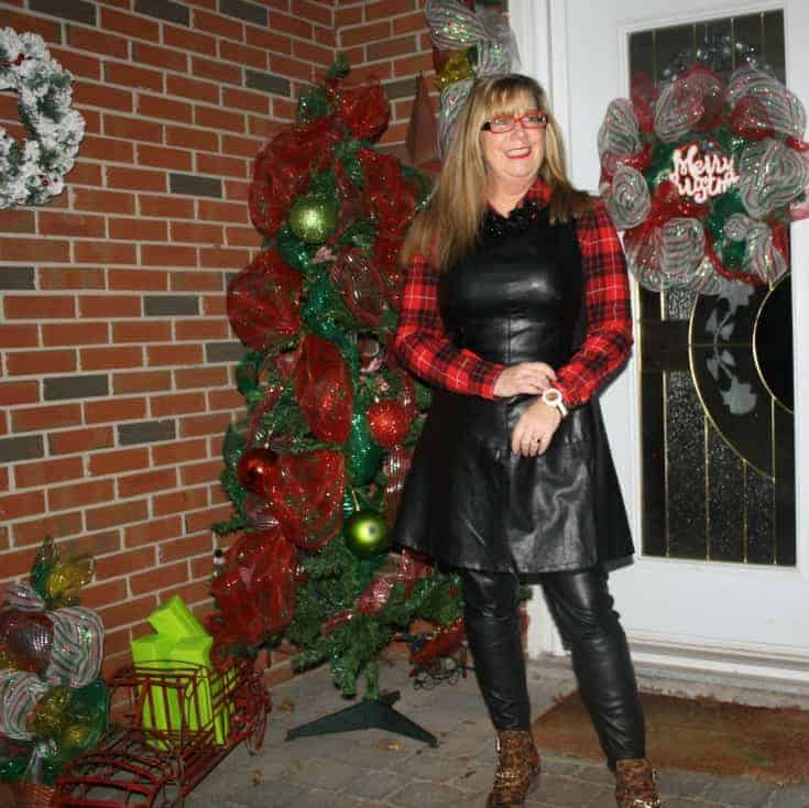 F 21 Leather Dress with Buffalo plaid shirt and some leopard boots 7