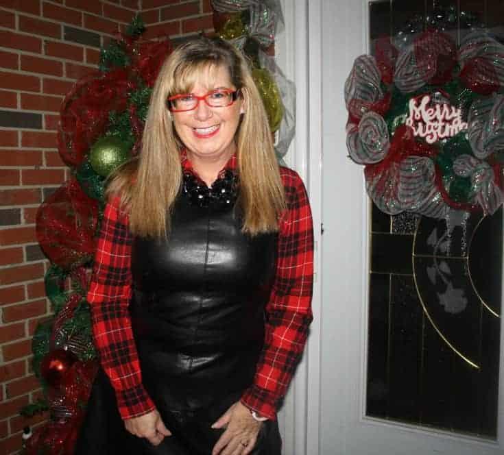 F 21 Leather Dress with Buffalo plaid shirt
