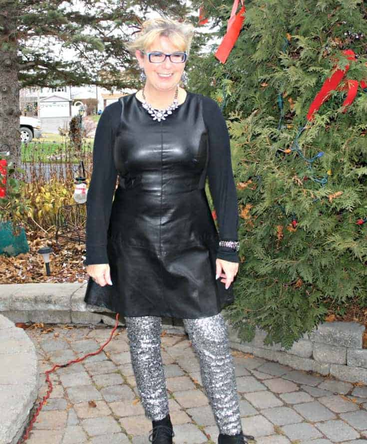 F 21 Leather Dress with H&M Sequin Leggings and a wedge Boot, necklace by Avon