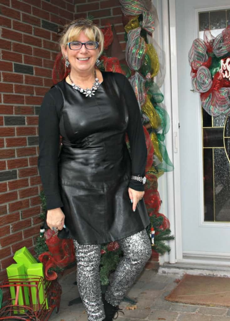 F 21 Leather Dress with H&M Sequin Leggings and a wedge Boot, necklace by Avon 5