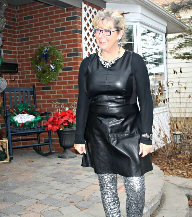 F 21 Leather Dress with H&M Sequin Leggings and a wedge Boot, necklace by Avon 7