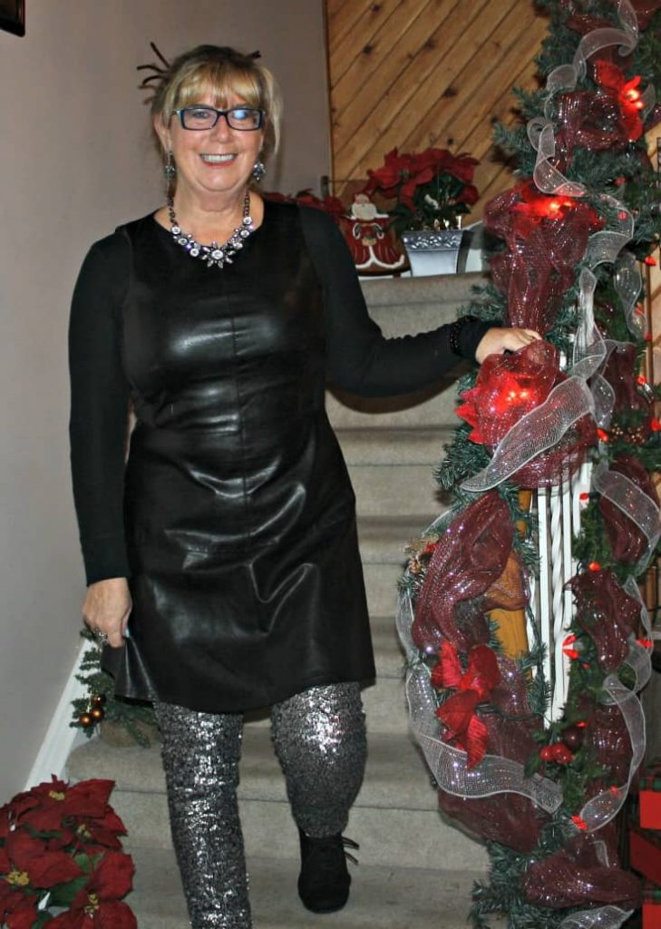 F 21 Leather Dress with H&M Sequin Leggings and a wedge Boot, necklace by Avon 8