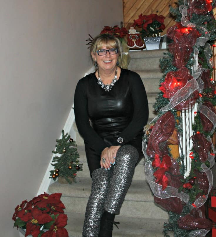 F 21 Leather Dress with H&M Sequin Leggings and a wedge Boot, necklace by Avon9