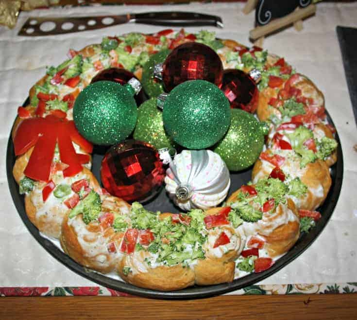 Croissant wreath with red peppers and broccoli for a festive table