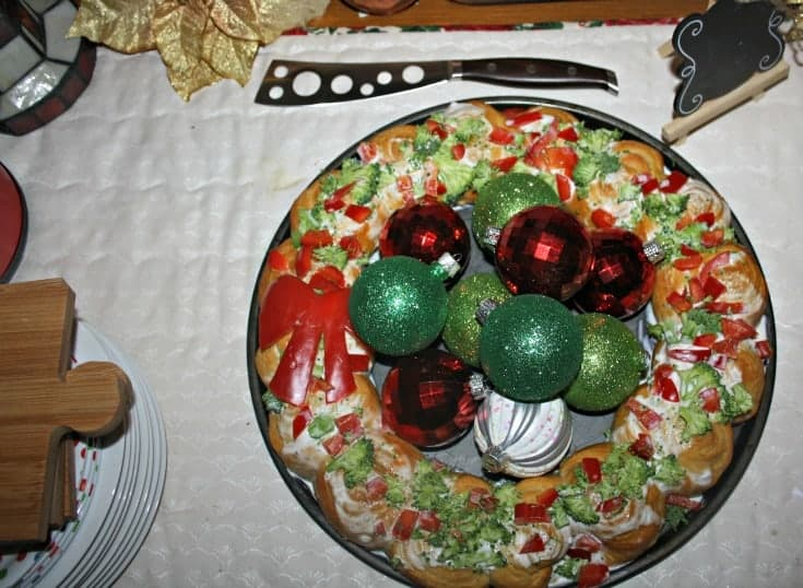 Croissant wreath with red peppers and broccoli for a centerpiece