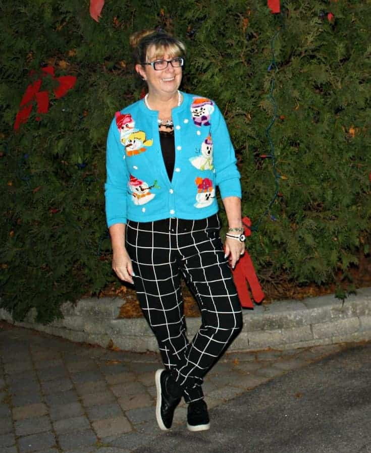 snowman sweater and windowpane joggers from Target, Konifer watch and quilted loafers 5