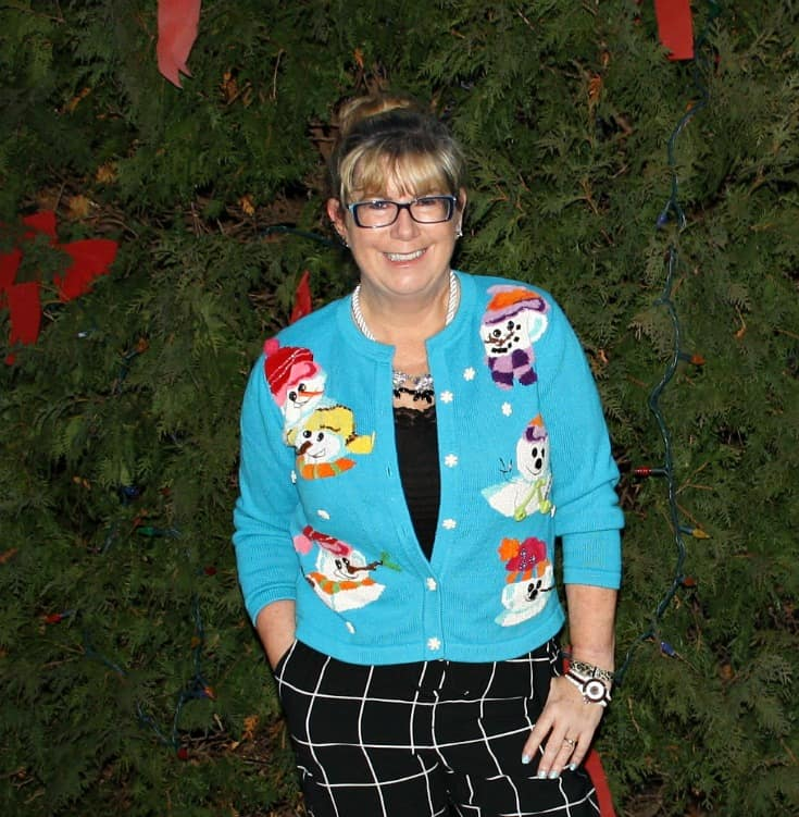 snowman sweater and windowpane joggers from Target, Konifer watch 2