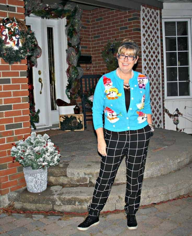snowman sweater and windowpane joggers from Target, Konifer watch and quilted loafers 2