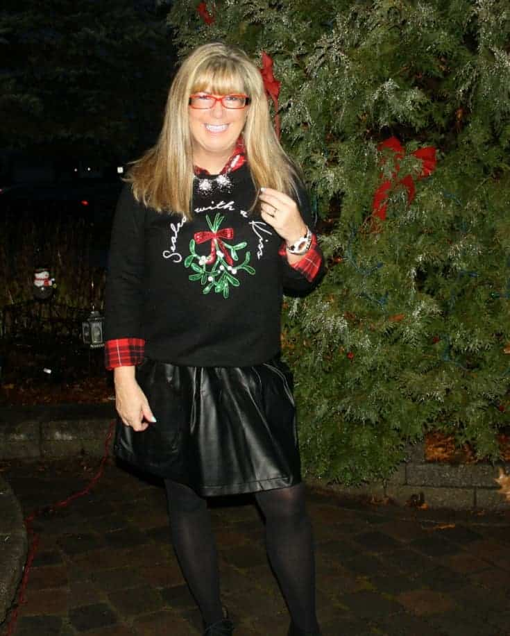 H&M Christmas sweater with flannel and a leather skirt, wedge boots by George 1