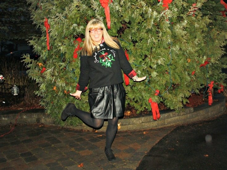 H&M Christmas sweater with flannel and a leather skirt, wedge boots by George 4