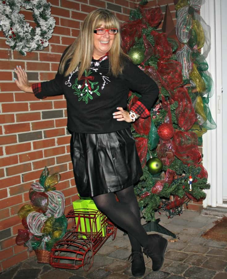 H&M Christmas sweater with flannel and a leather skirt, wedge boots by George 9