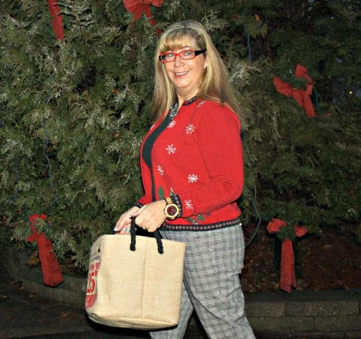 Target Plaid pants with a Christmas sweater